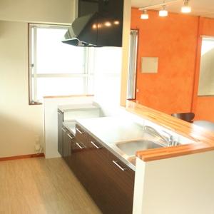 キッチンはサンワカンパニー製で対面式にし、カウンター造作。